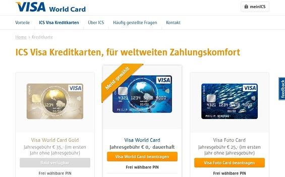 Überblick der drei ICS Kreditkarten-Konzepte