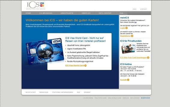 Anzeige des ICS VISA World Card Finanzprodukts