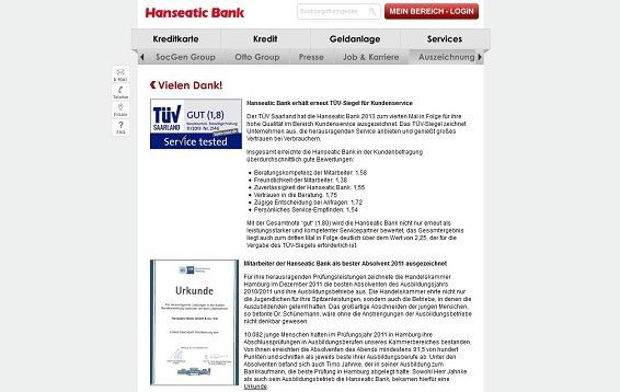 TÜV-Begründung der Auszeichnung des Hanseatic Bank-Kundensupports