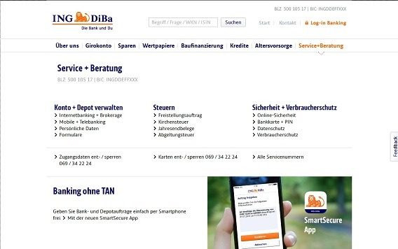 Die Kontaktdaten des ING-DiBa Kundensupports