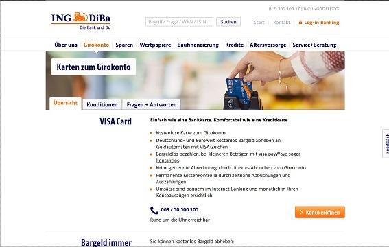 Offizielle Seite zum Finanzprodukt VISA Card der ING-DiBa
