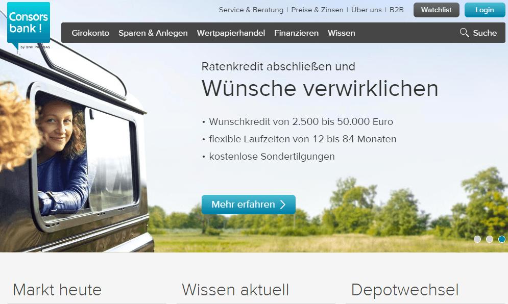 Webseite der consorsbank
