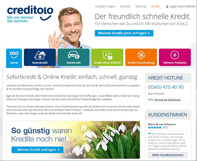 Die Homepage von Creditolo