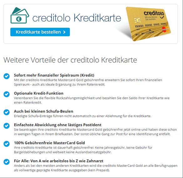 Das Kreditkartenangebot von Creditolo
