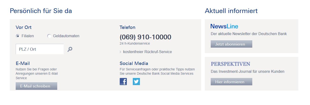 Kontaktmöglichkeiten zur Deutschen Bank im Überblick