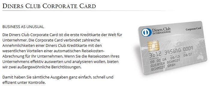 Besonderes Angebot für Unternehmen: Diners Club Corporate Card