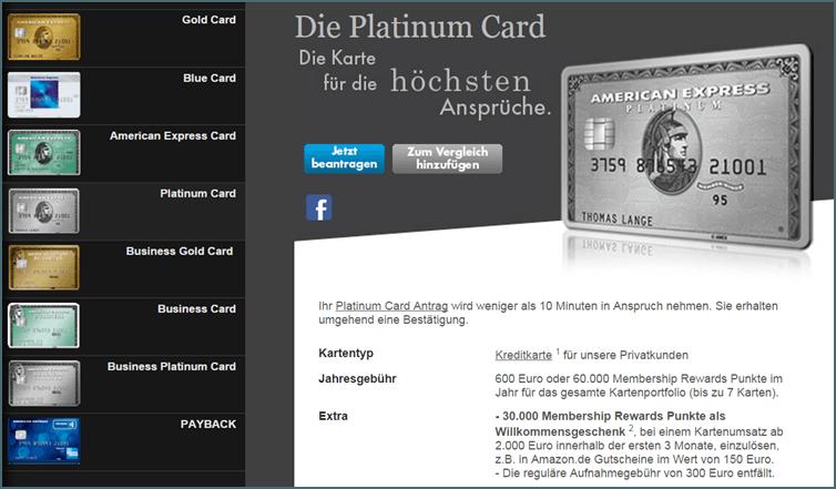 Das Platinum Card Angebot von American Express