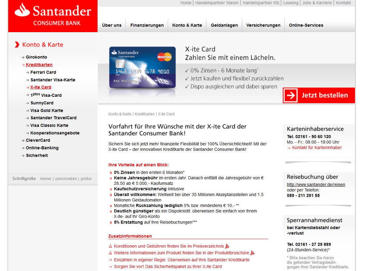 Die X-ite Card der Santander Consumer Bank im Überblick