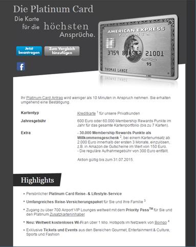 Die Platinum Card von American Express enthält standardmäßig eine Reiseversicherung