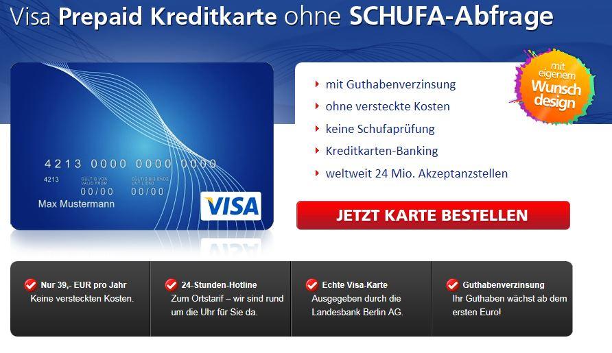 Gutes Angebot bei der LBB Berlin für eine Kreditkarte ohne Schufa