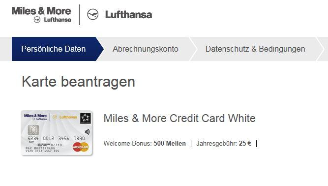 Miles&More Lufthansa MasterCard Anmeldeformular