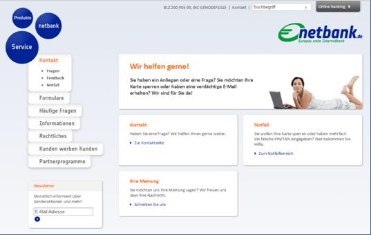 Die Kontaktseite der Netbank