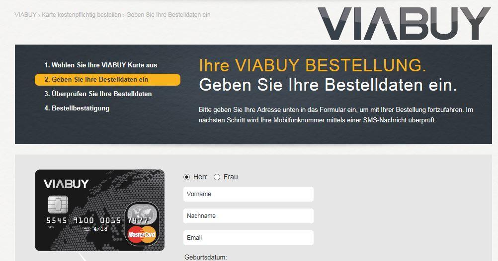 Anmeldung Viabuy Prepaid Kreditkarte