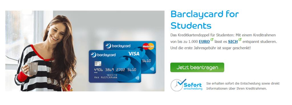 Studentenkreditkarte Angebot der Barclaycard for Students
