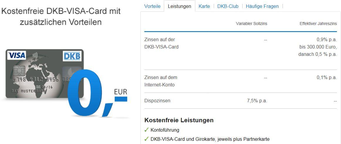Die VISA-Karte im Angebot der DKB