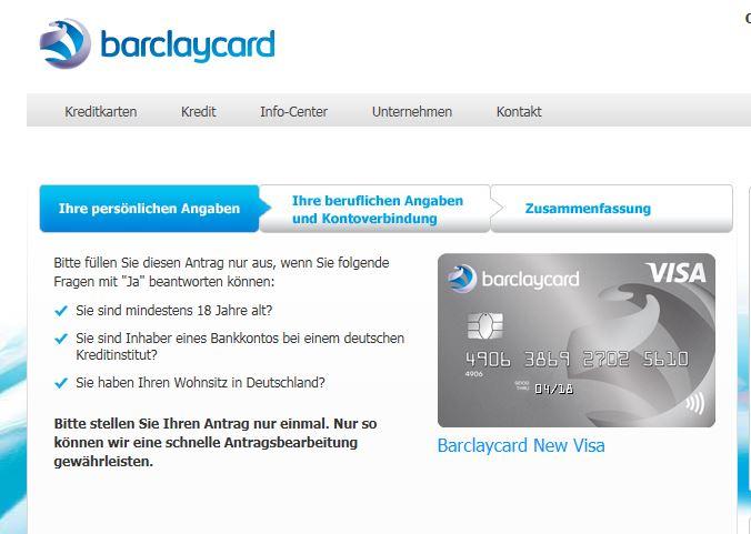 Anmeldung für die Barclaycard New Visa