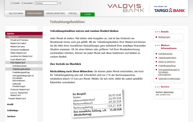Die Valovis Bank bietet eine Teilzahlungsfunktion