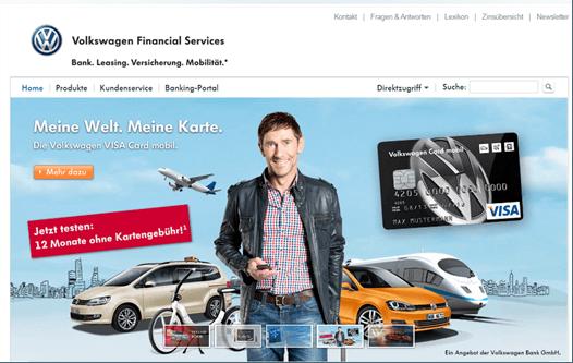 Die Homepage der Volkswagen Bank GmbH.