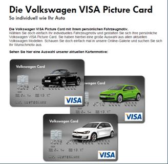 Die Gestaltungsmöglichkeiten der Volkswagen Visa Card.
