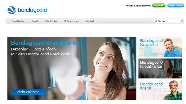 Die Webseite von Barclaycard