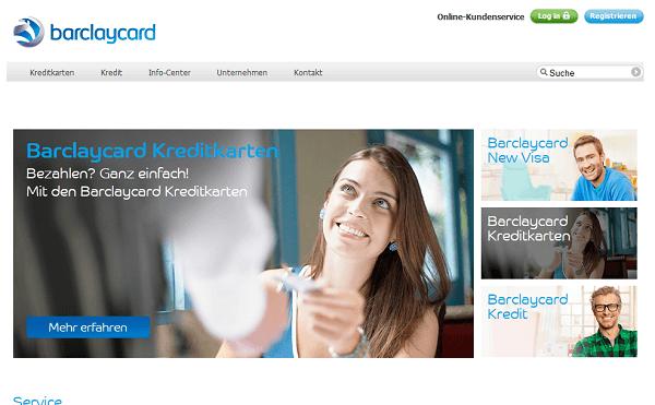 Webseite von Barclaycard