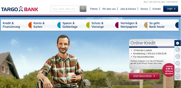 Der Webauftritt der TARGOBANK