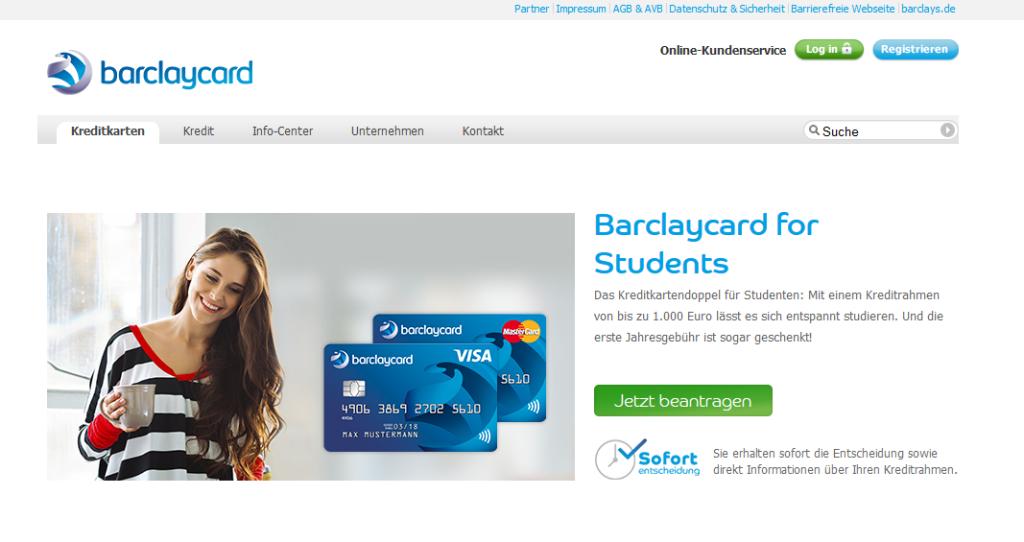 Kreditkarten von Barclaycard für Studenten