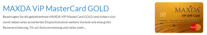 Die Maxda VIP Gold Card