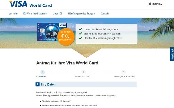 Ansicht des VISA World Card-Antrags