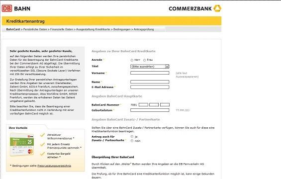 Abbildung eines Antragformulars für die BahnCard Kreditkarte