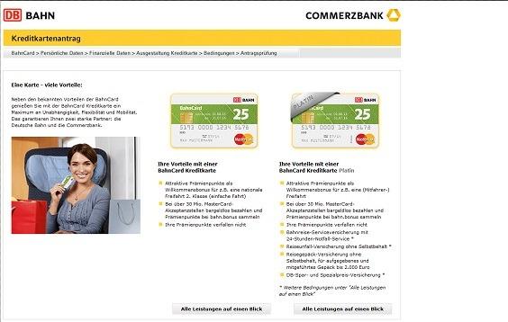 Leistungsüberblick der BahnCard Kreditkarten auf der commerzbank AG-Webseite