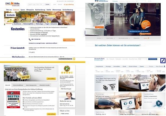 Webseiten von ING-DiBa, VR Banken, Commerzbank und Deutsche Bank