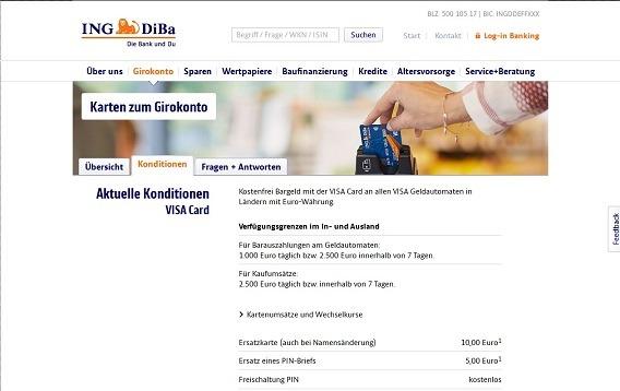 Auszug aus den Konditionen der ING-DiBa VISA Direkt-Card Konditionen