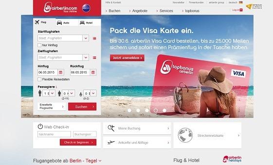 Aktuell bietet AirBerlin zusätzliche Vergünstigungen bei der Kreditkartenbestellung