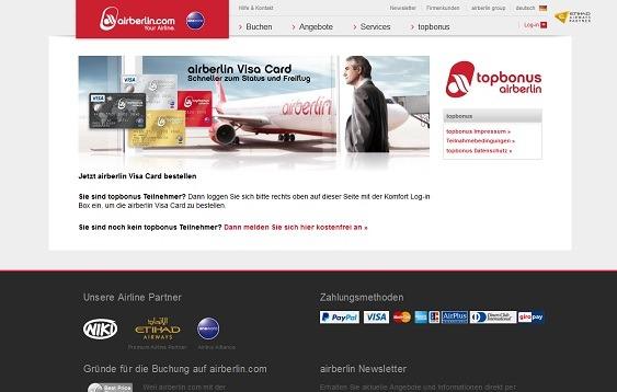 Login mit den topbonus Zugangsdaten, um die AirBerlin Kreditkarte zu bestellen