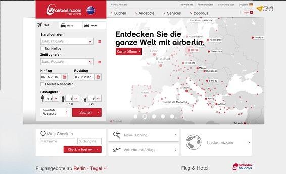 Ansicht der offiziellen Webseite der Fluggesellschaft AirBerlin