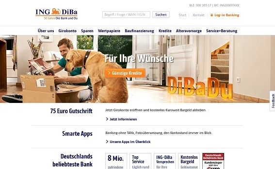 Die offizielle Webseite der ING-DiBa
