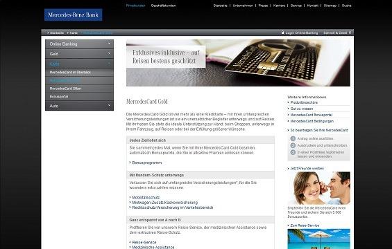 Alt-Tag: Offizielle Webseite zur Mercedes Benz Kreditkarte Gold