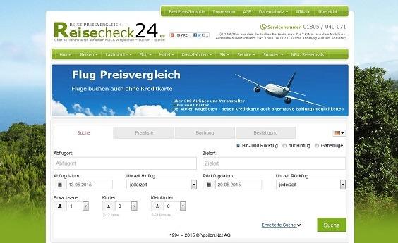 Die offizielle Webseite von Reisecheck24