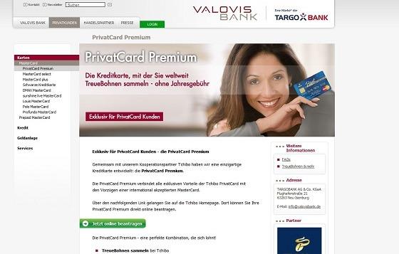 Die Startseite der offiziellen Webseite der Valorisbank