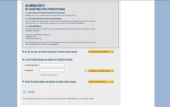 Vor der Antragstellung kommt die PrivatCard Registrierung oder der Login