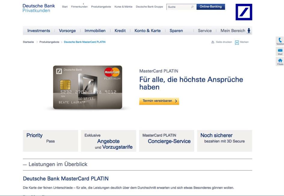 Auch die PlatinCard der Deutschen Bank enthält den Priority Pass