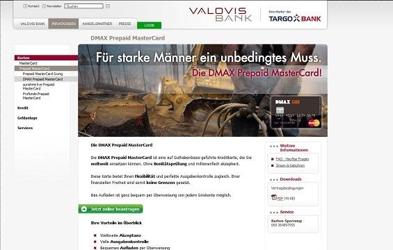 Die DMAX Prepaid MasterCard wird von der Valovis Bank bereitgestellt