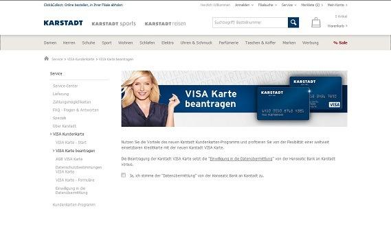 Erster Schritt zur Antragstellung: Bestätigung der Datenübermittlung an die Hanseatic Bank