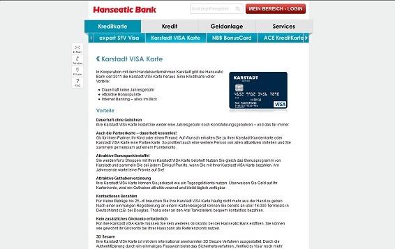 Offizielle Beschreibung zur Kreditkarte auf der Webseite der Hanseatic Bank