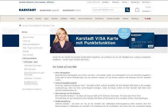 Offizielle Webseite zur Leistungsbeschreibung der Karstadt Kreditkarte