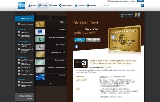 Offizielle Webseite der American Express Kreditkarte