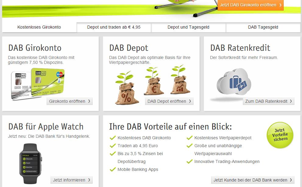 Die Homepage der DAB-Bank