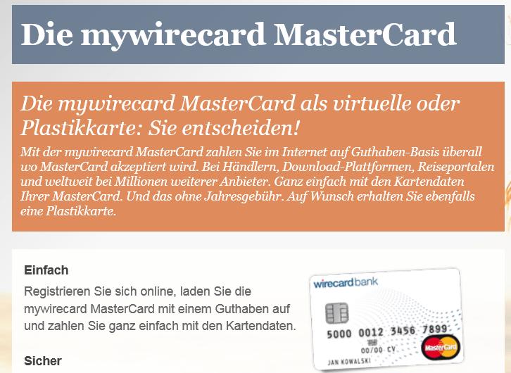 mywirecard MasterCard als virtuelle oder Plastikkarte