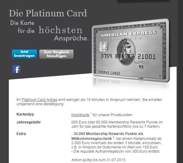 Platinum Card von American Express